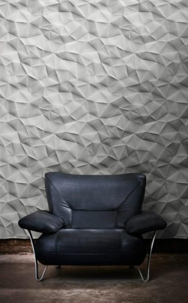 wohnideen wanddeko wandfarben toll gestalten grau origami stil