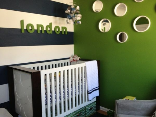 wandfarbe in grün wandgestaltung baby krippe