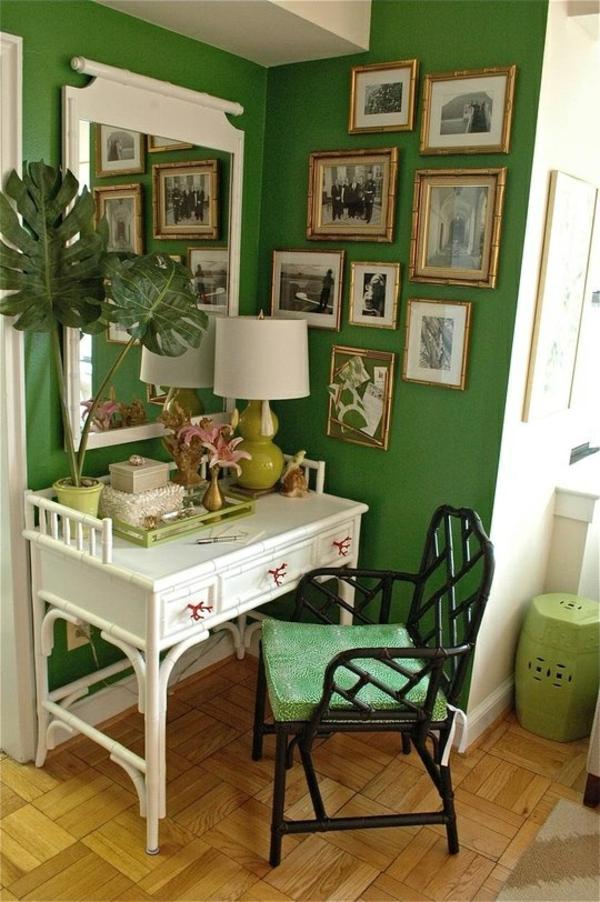wandfarbe grün farbideen wandgestaltung bilder rahmen wanddeko