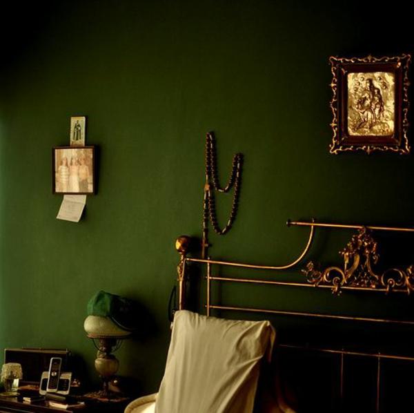 wandfarbe klassisch grün farbideen wandgestaltung dunkel
