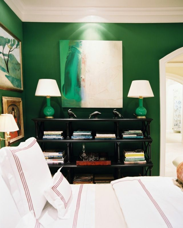 wandfarbe in grün farbideen wandgestaltung elegant glanz