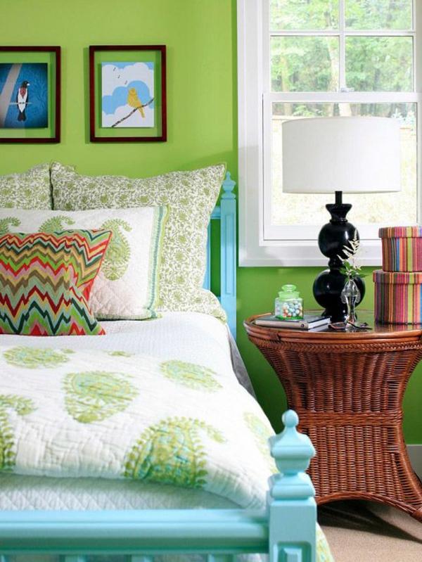 wandfarbe farbtöne grün farbideen wandgestaltung gestell blau