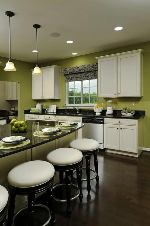 wandfarbe farbideen wandgestaltung küchenarbeitsplatte hocker