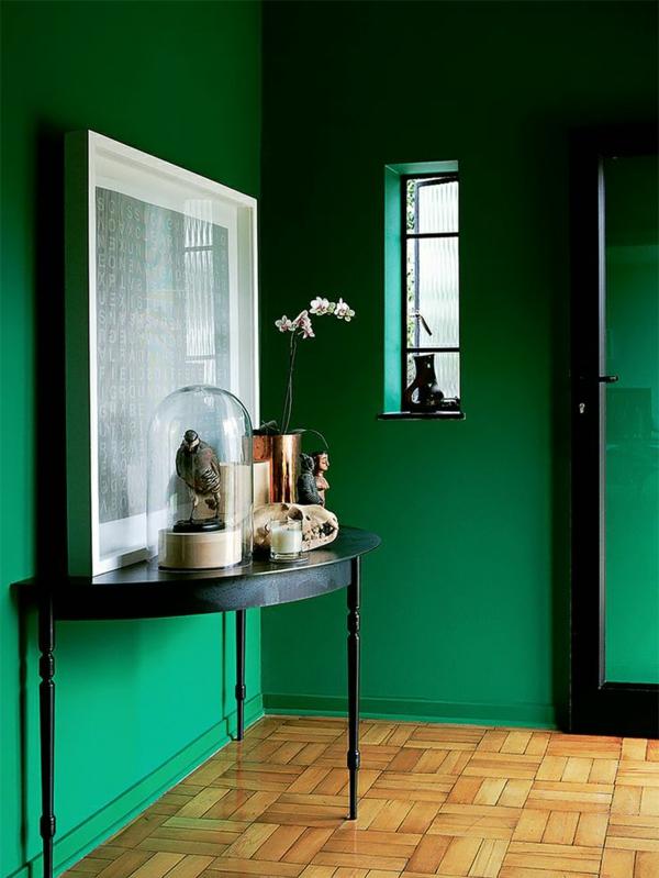 wandfarbe dunkel grün farbideen wandgestaltung kühn