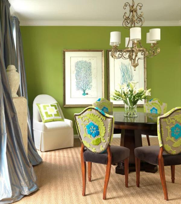 wandfarbe grün farbideen wandgestaltung kronleuchter esstisch