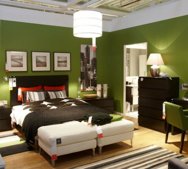 1001 frische ideen f r wandfarbe in gr n farbtrend 2017. Black Bedroom Furniture Sets. Home Design Ideas