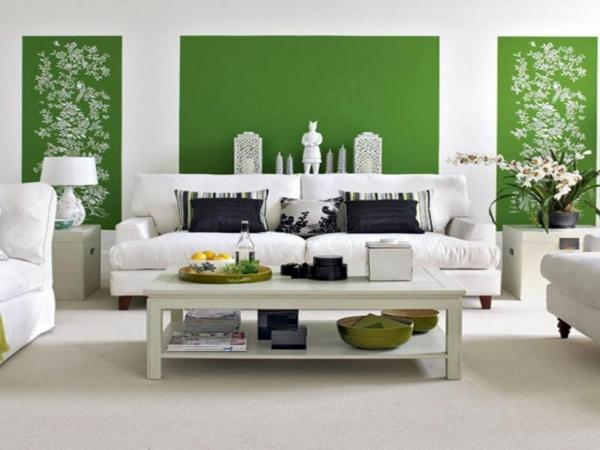 wandfarbe in grün farbideen wandgestaltung muster weiß
