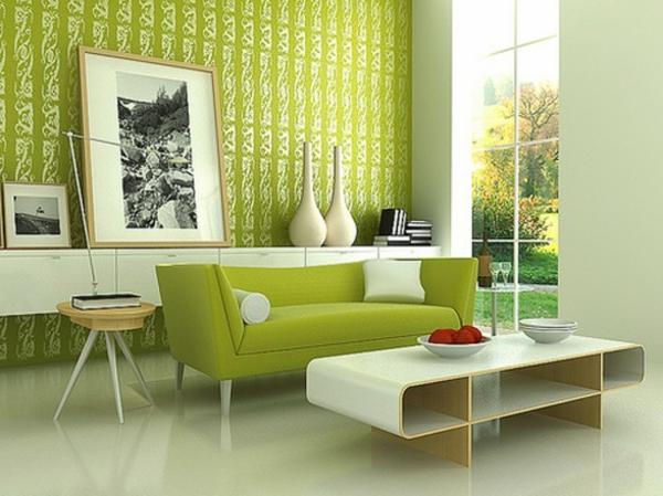 wandfarbe grün farbideen wandgestaltung muster wohnzimmer