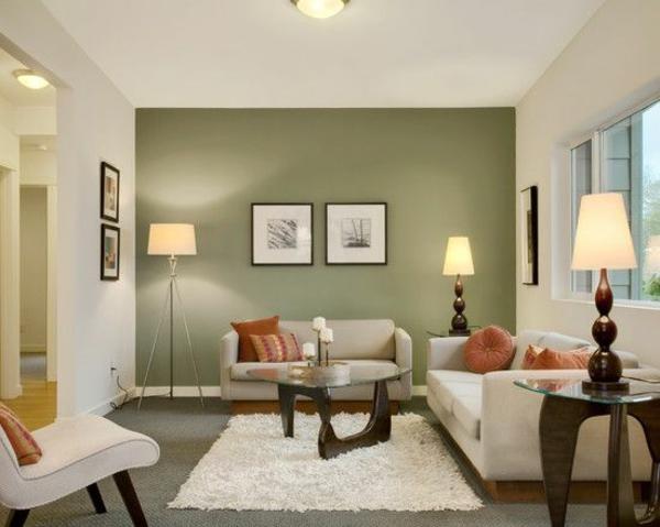 wandfarben farbideen wandgestaltung olivgrün wohnzimmerwand