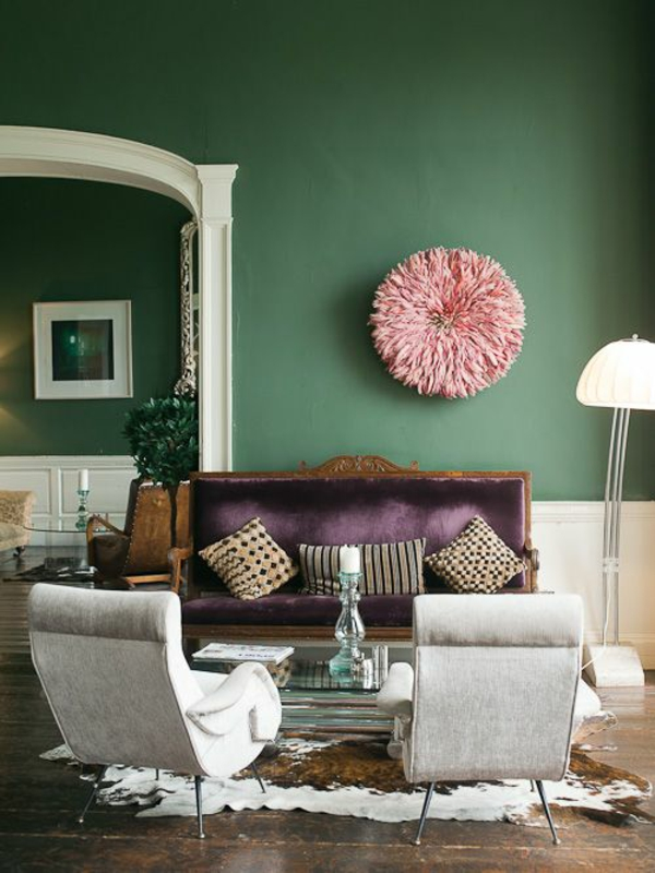 wandfarbe grün farbideen wandgestaltung rosa wandinstallation