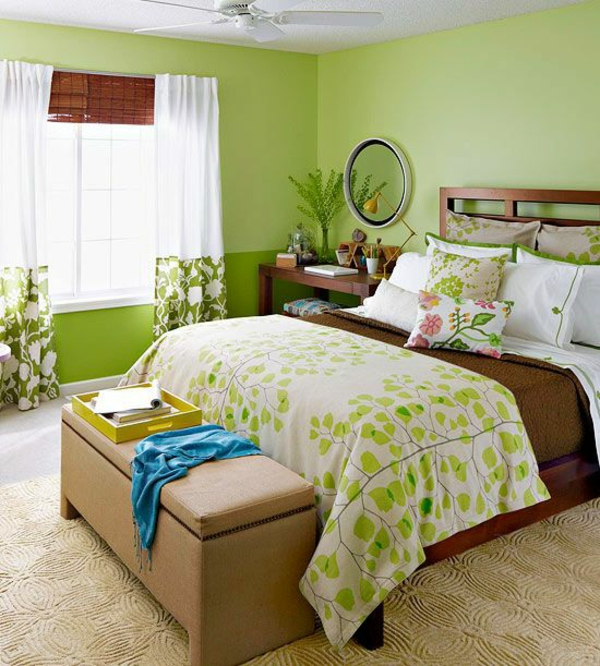wandfarbe grün farbideen wandgestaltung schlafzimmer traditionell