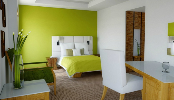 wandfarbe grün farbideen wandgestaltung schreibtisch schlafzimmer
