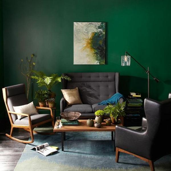 grün farbideen wandgestaltung sessel sofa