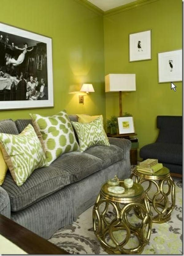 wandfarbe tischlampe grün farbideen wandgestaltung sofa polsterung