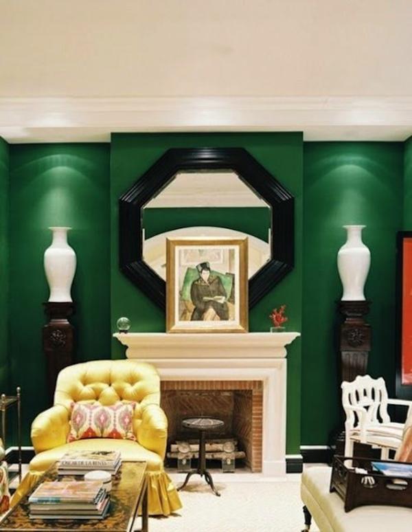 wandfarbe wandlampen grün farbideen wandgestaltung symmetrie