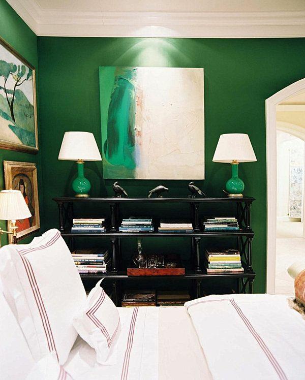 wandfarbe lampenfuß grün farbideen wandgestaltung tischlampen