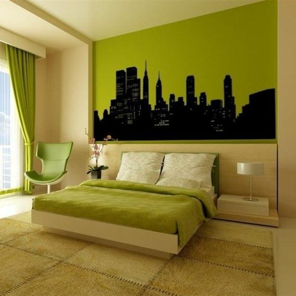 wandfarbe grün farbideen wandgestaltung wandsticker schwarz