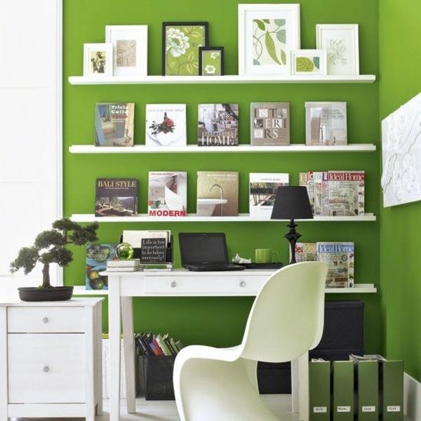 wandfarbe grün farbideen wandgestaltung weiß regale
