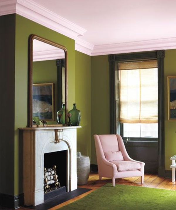 wandfarbe rosa decke grün farbideen wandgestaltung wohnen