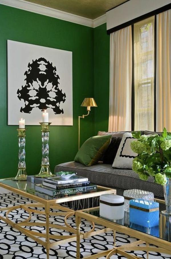 Wandgestaltung wohnzimmer grun