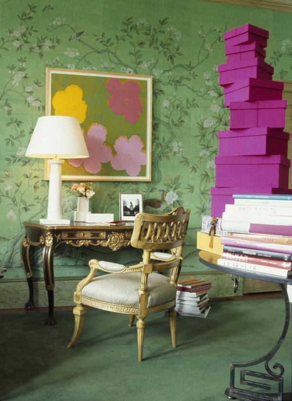 wandgestaltung mit tapeten designer tapeten grün florales muster