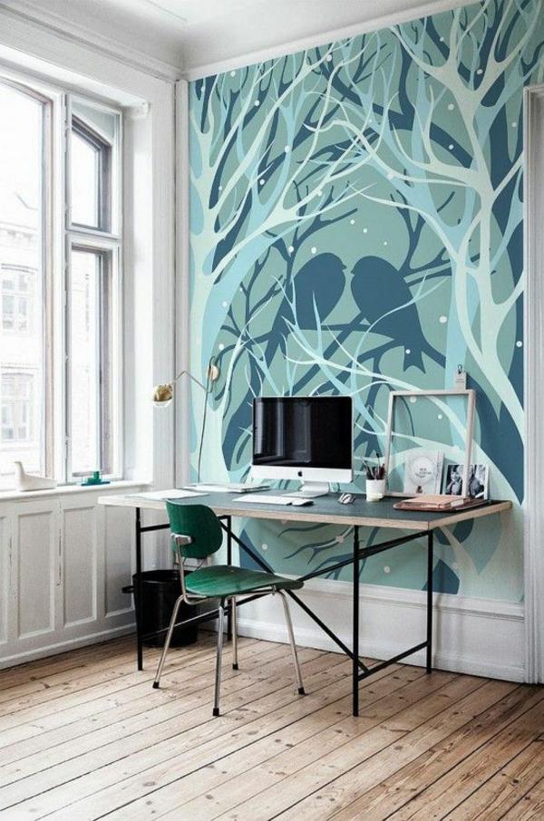 wandgestaltung mit tapeten designer tapeten muster häusliches arbeitszimmer tapezieren