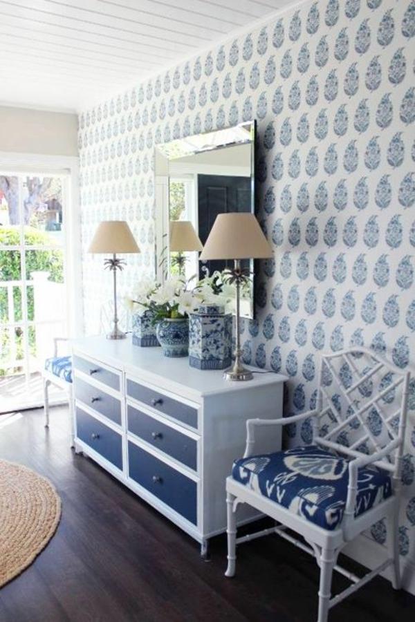 Mustertapeten Richtig Tapezieren : wandgestaltung mit tapeten designer tapeten wandideen in blau