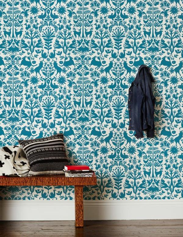 Mustertapeten Richtig Tapezieren : wandideen flur gestalten wandgestaltung ideen mustertapeten blau