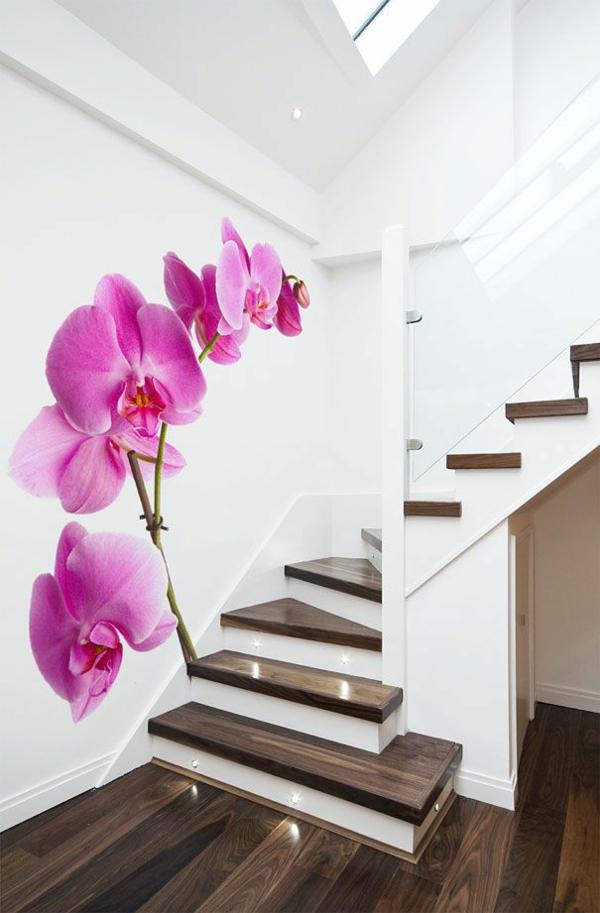 wandideen flur wandgestaltung ideen mustertapeten orchidee