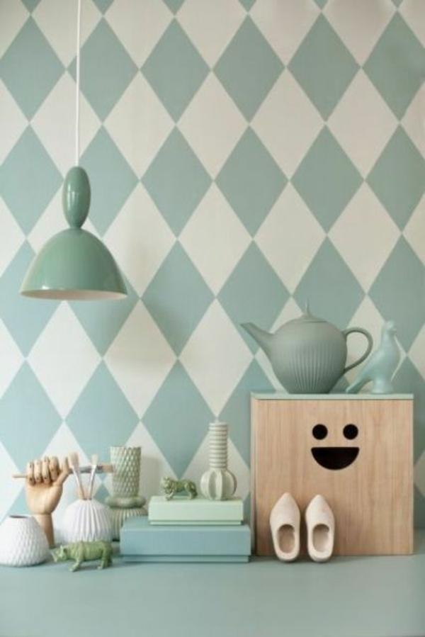 wandideen küchendesign wandgestaltung ideen mustertapeten pastellfarben