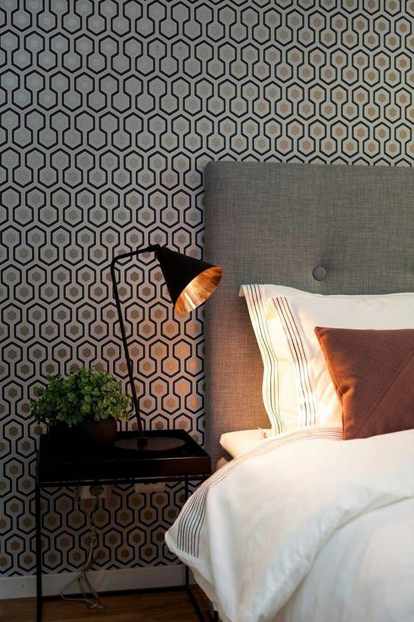 Mustertapeten Richtig Tapezieren : wandideen schlafzimmer wandgestaltung ideen mustertapeten goldakzente