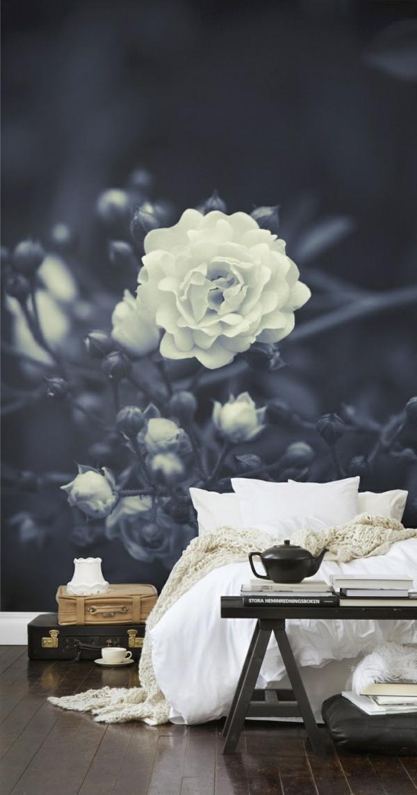 richtig tapezieren - designer tapeten und mustertapeten - Schwarz Weis Tapete Schlafzimmer