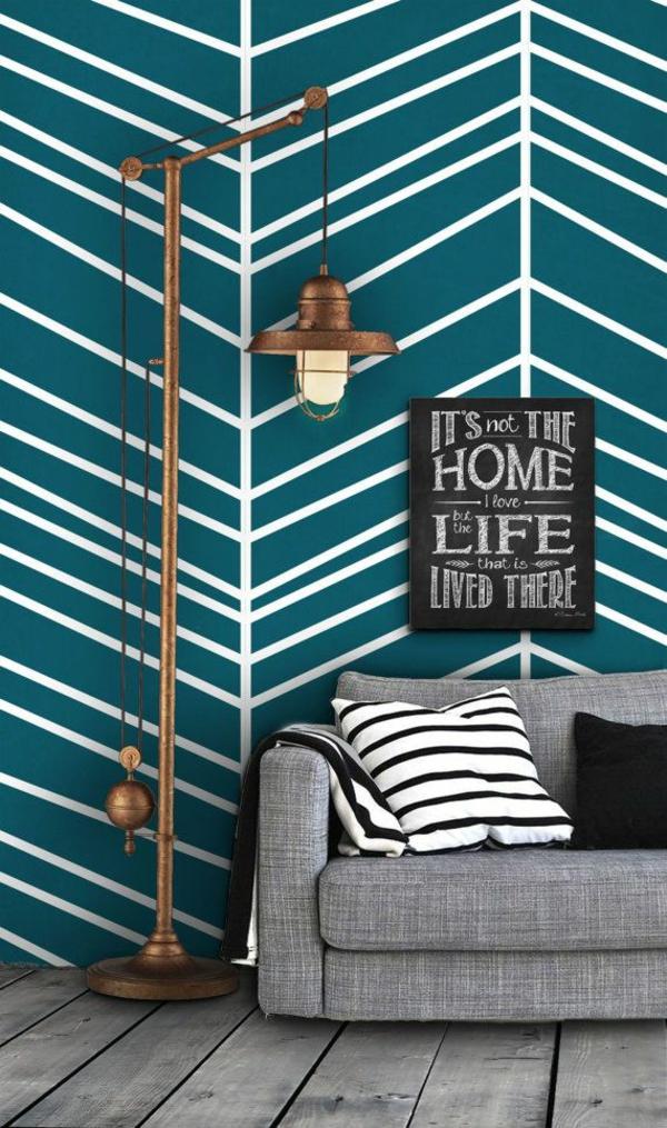 wandideen wohnzimmer wandgestaltung ideen mustertapeten sofa grau