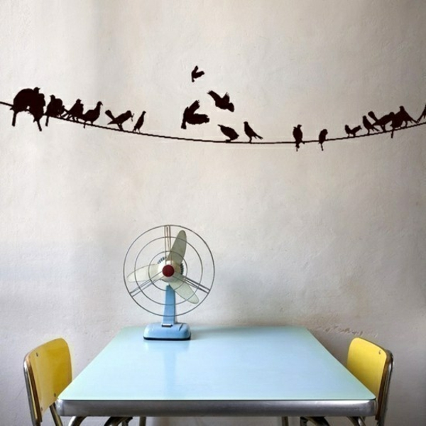 wandtattoo esszimmer wandgestaltung wandsticker vögel