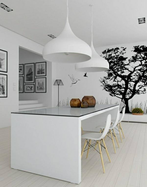 Esszimmer Wandgestaltung Wandsticker Weiß Pendelleuchten