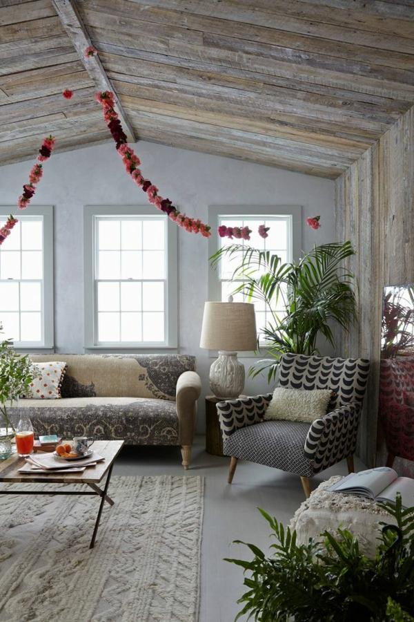 wandverkleidung holz wohnzimmer landhausstil rustikale möbel