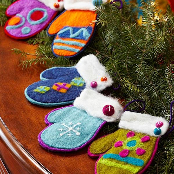 weihnachtliches basteln bastelideen für weihnachten filz handschuhe