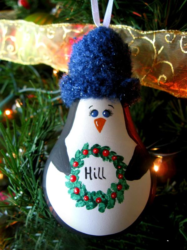 weihnachtliches basteln weihnachtsdeko basteln pinguin glühbirne