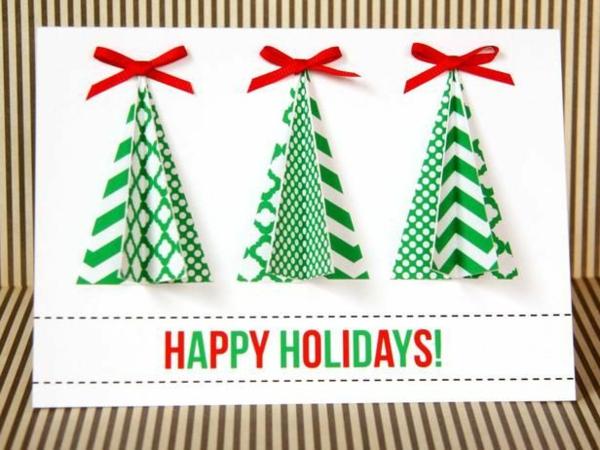 weihnachtsbasteleien weihnachtskarten selber basteln 3d weihnachtbäume