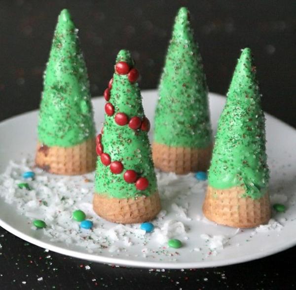weihnachtsbastelideen lebkuchen eisbecher tannen