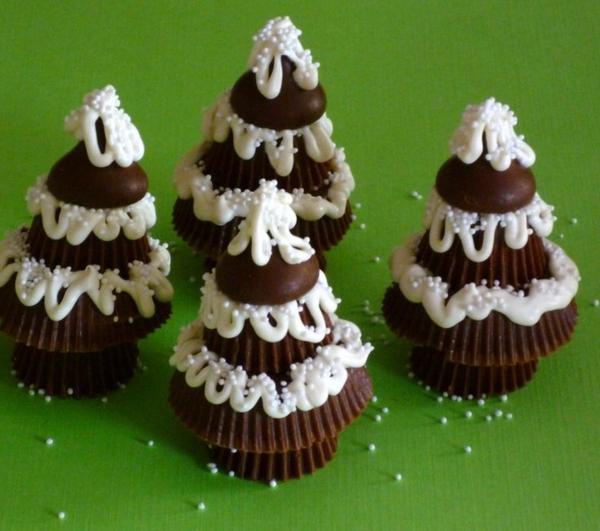 weihnachtsbastelideen lebkuchen tannen schokotörtchen