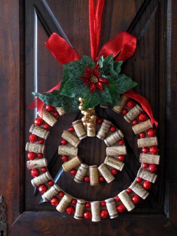 weihnachtsbastelideen weihnachtsbastelleien korken adventskranz