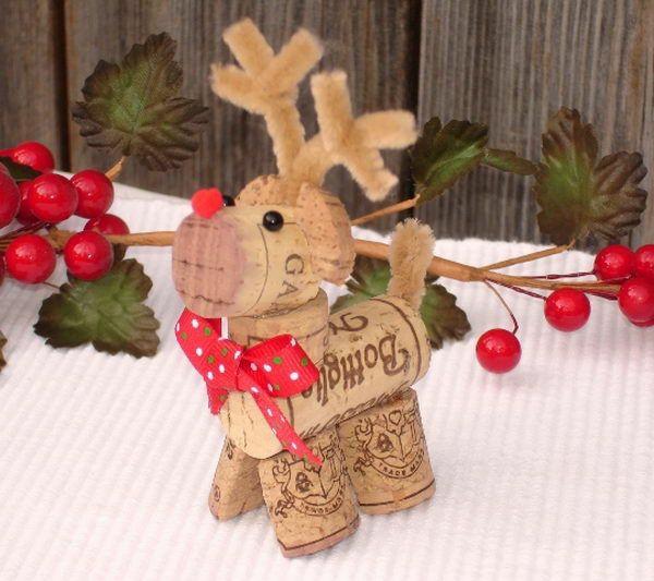 weihnachtsbastelideen weihnachtsbastelleien korken hirsch