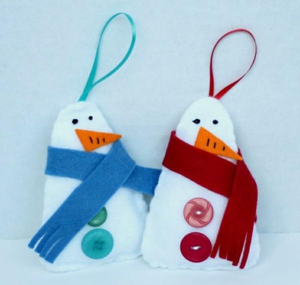 weihnachtsbastelideen weihnachtsdekoration basteln filz schneemann