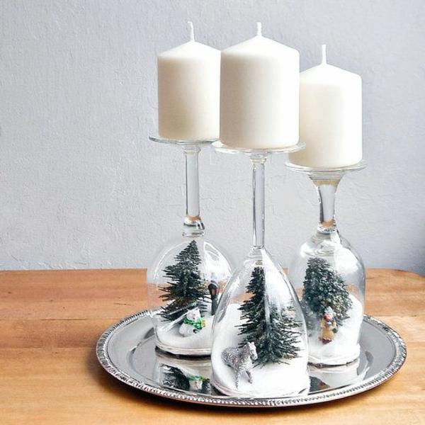 weihnachtsbastelideen weihnachtsdekoration basteln kerzen gläser