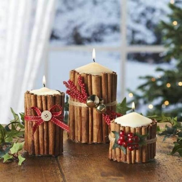 weihnachtsbastelideen weihnachtsdekoration basteln kerzen zimtstäbchen