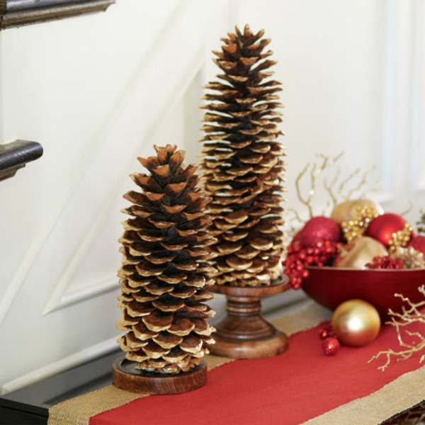 weihnachtsbastelideen weihnachtsdekoration basteln tannenzapfen