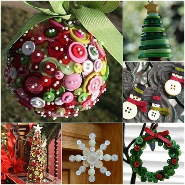 weihnachtsbastelideen weihnachtsdekoration basteln weihnachtsbastelleien mit knöpfen