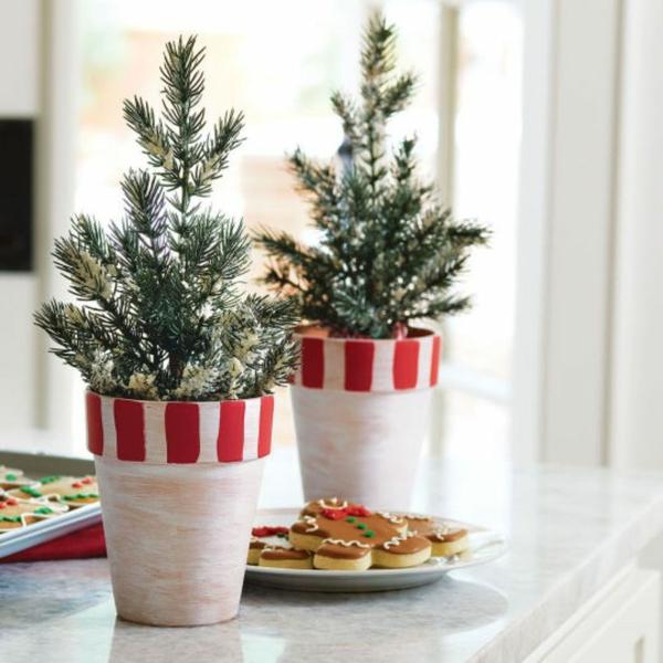 weihnachtsbastelideen weihnachtsdekoration basteln zimmerpflanzen topfpflanzen
