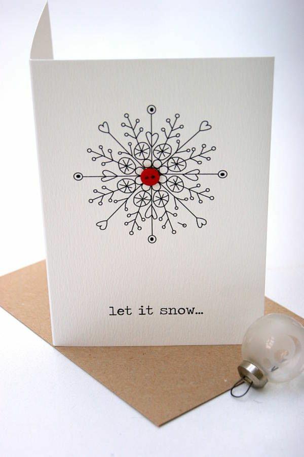 weihnachtsbastelideen weihnachtskarten basteln schneeflöckchen knopf